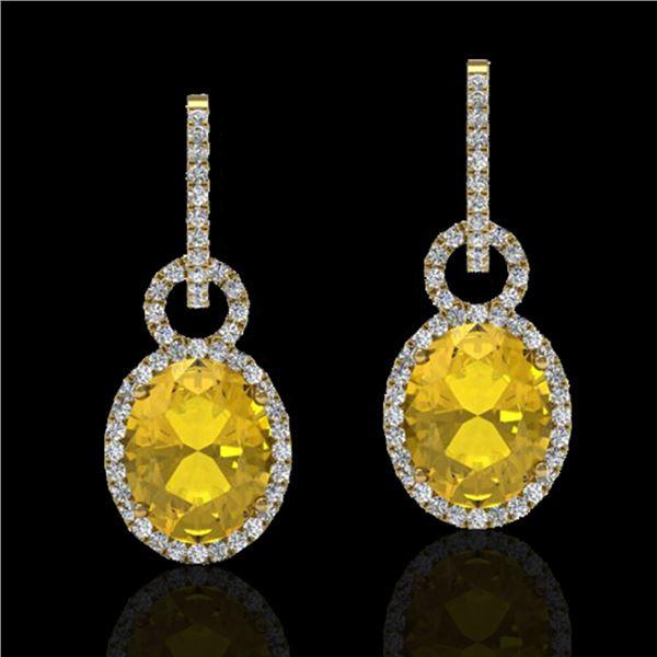 6 ctw Citrine & Micro Pave Halo VS/SI Diamond Earrings 14k Yellow Gold - REF-98X2A