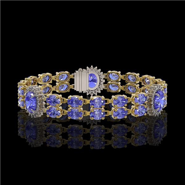 17.83 ctw Tanzanite & Diamond Bracelet 14K Yellow Gold - REF-280G2W