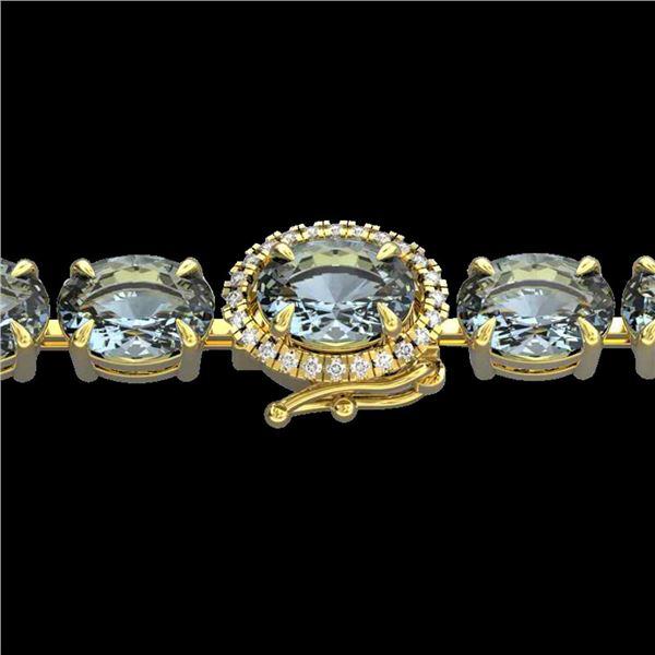 36 ctw Sky Blue Topaz & VS/SI Diamond Micro Bracelet 14k Yellow Gold - REF-115W8H
