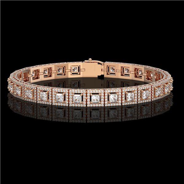 10.8 ctw Princess Cut Diamond Micro Pave Bracelet 18K Rose Gold - REF-923F9M