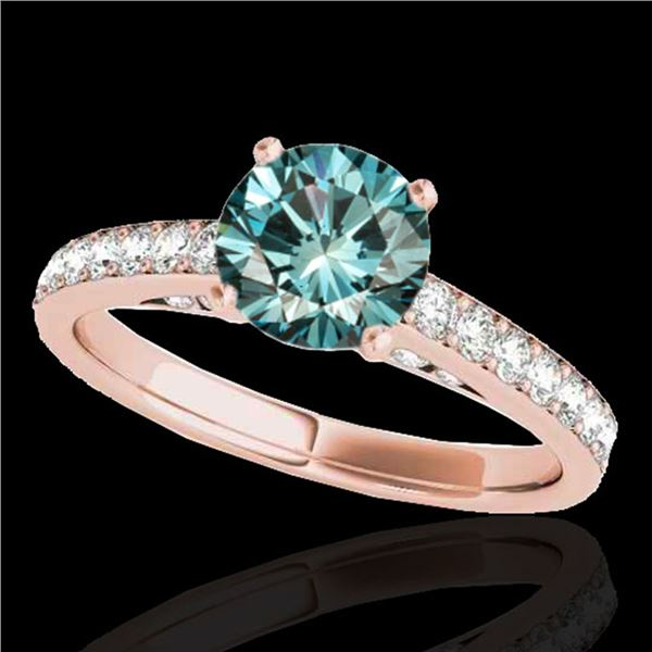 1.5 ctw SI Certified Fancy Blue Diamond Solitaire Ring 10k Rose Gold - REF-150X2A