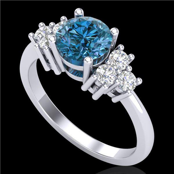 1.25 ctw Fancy Intense Blue Diamond Art Deco Ring 18k White Gold - REF-209M3G