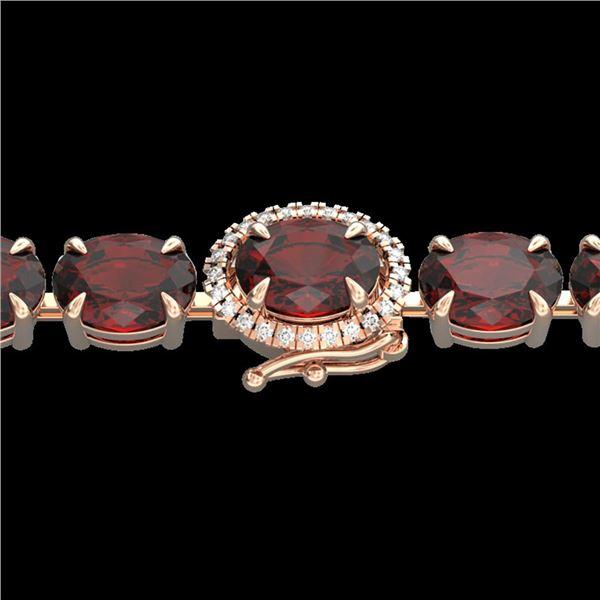 32 ctw Garnet & VS/SI Diamond Eternity Micro Bracelet 14k Rose Gold - REF-119F5M