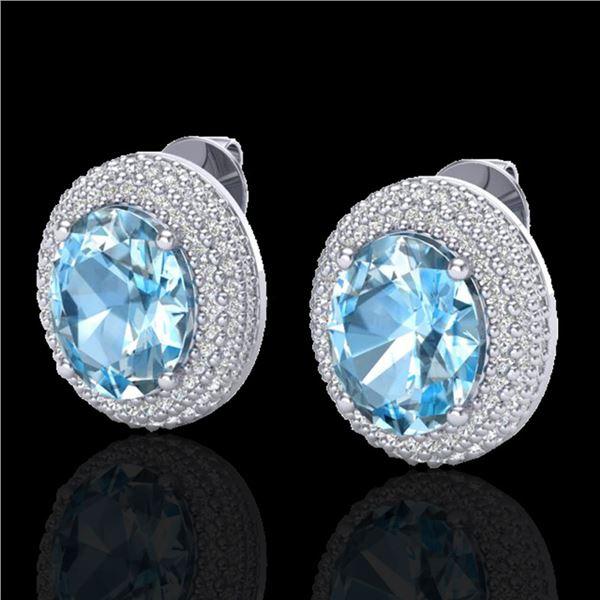 10 ctw Sky Blue Topaz & Micro Pave Diamond Earrings 18k White Gold - REF-161R8K
