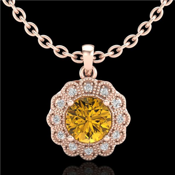 1.15 ctw Intense Fancy Yellow Diamond Art Deco Necklace 18k Rose Gold - REF-272Y8X