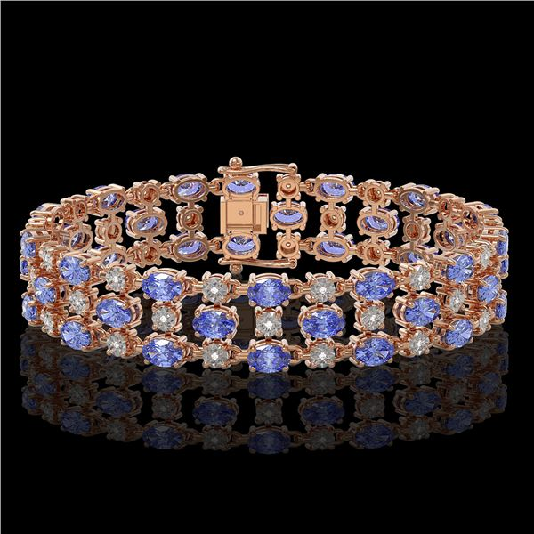 23.9 ctw Tanzanite & Diamond Bracelet 10K Rose Gold - REF-318W2H
