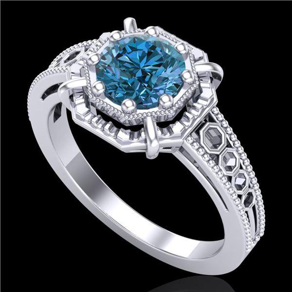 1 ctw Intense Blue Diamond Engagment Art Deco Ring 18k White Gold - REF-200A2N