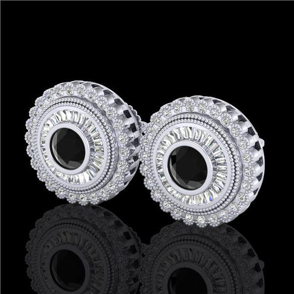 2.61 ctw Fancy Black Diamond Art Deco Stud Earrings 18k White Gold - REF-236N4F