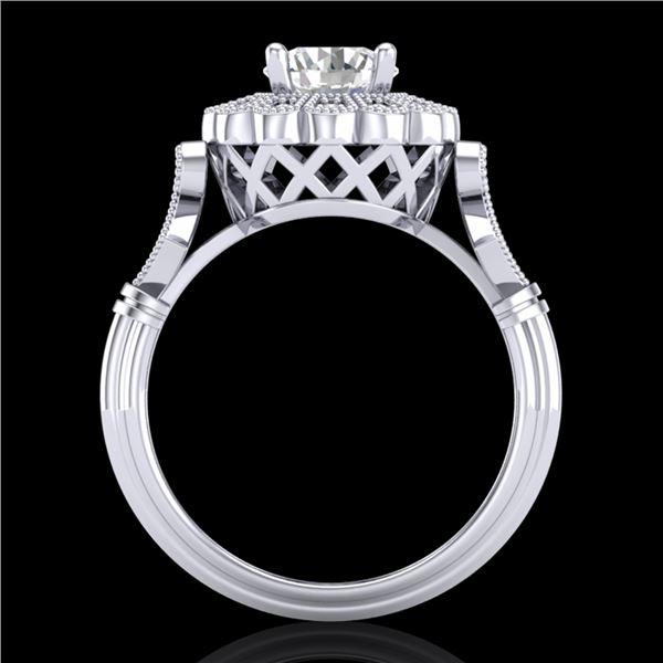 1.2 ctw VS/SI Diamond Solitaire Art Deco Ring 18k White Gold - REF-345H2R