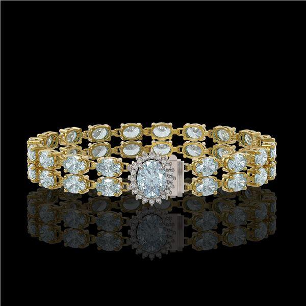 20.47 ctw Aquamarine & Diamond Bracelet 14K Yellow Gold - REF-336M4G