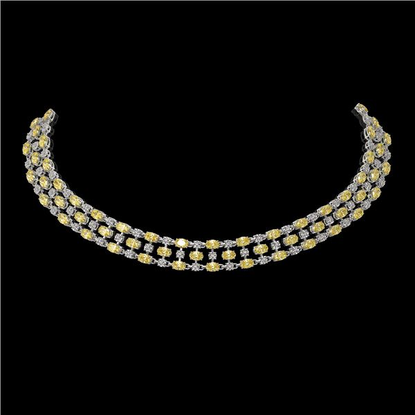 51.17 ctw Fancy Citrine & Diamond Necklace 10K White Gold - REF-527N3F