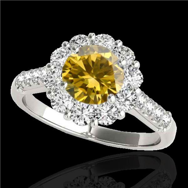 2 ctw Certified SI/I Fancy Intense Yellow Diamond Halo Ring 10k White Gold - REF-225K2Y