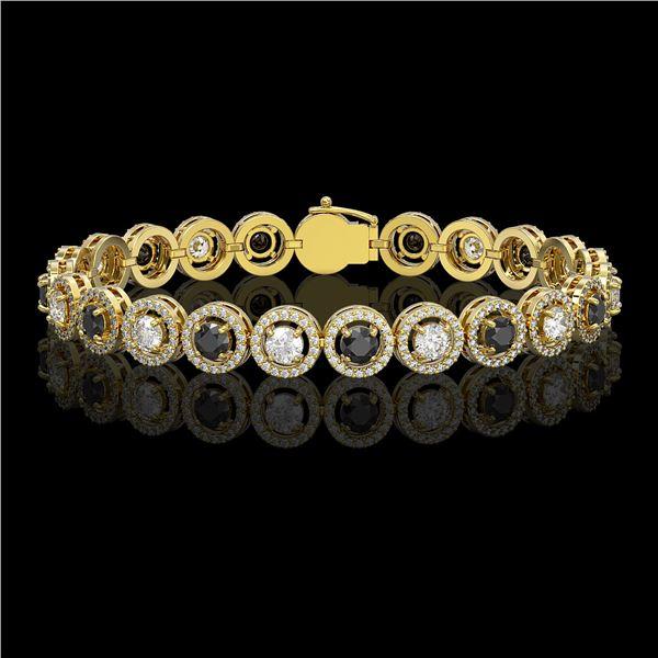 8.83 ctw Black & Diamond Micro Pave Bracelet 18K Yellow Gold - REF-569G5W