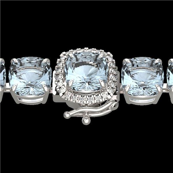 35 ctw Sky Blue Topaz & Micro Diamond Bracelet 14k White Gold - REF-158N2F