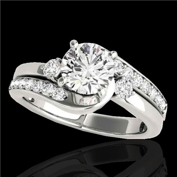 1.75 ctw Certified Diamond Bypass Solitaire Ring 10k White Gold - REF-259G3W