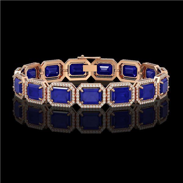 38.61 ctw Sapphire & Diamond Micro Pave Halo Bracelet 10k Rose Gold - REF-392X4A
