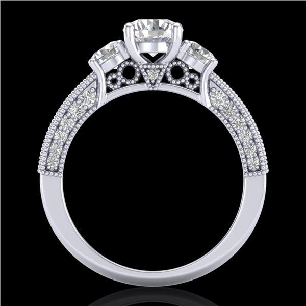 2.07 ctw VS/SI Diamond Solitaire Art Deco 3 Stone Ring 18k White Gold - REF-270X2A