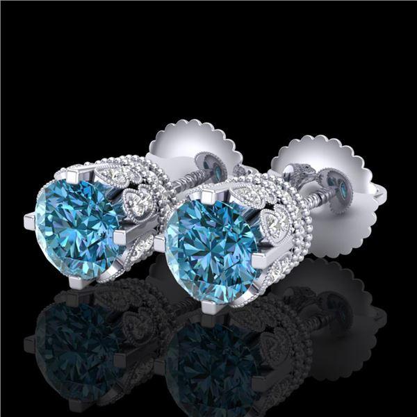 3 ctw Fancy Intense Blue Diamond Art Deco Earrings 18k White Gold - REF-349M3G