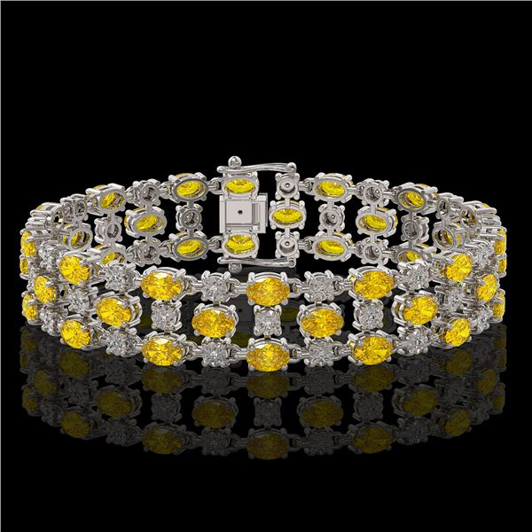 20.78 ctw Fancy Citrine & Diamond Bracelet 10K White Gold - REF-227F3M