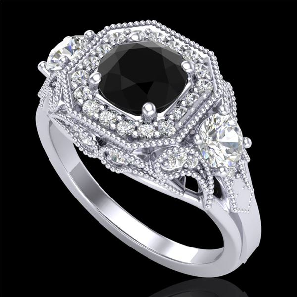 2.11 ctw Fancy Black Diamond Art Deco 3 Stone Ring 18k White Gold - REF-180X2A