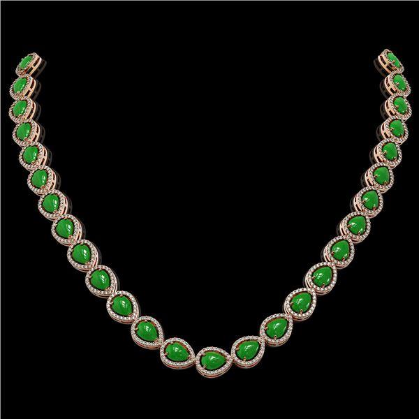 29.73 ctw Jade & Diamond Micro Pave Halo Necklace 10k Rose Gold - REF-588M5G