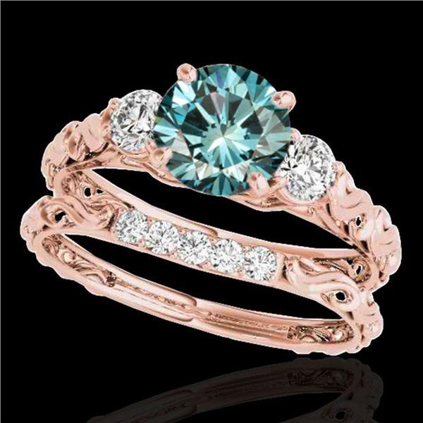 1.35 ctw SI Certified Fancy Blue Diamond 3 Stone Set 10k Rose Gold - REF-130W9H