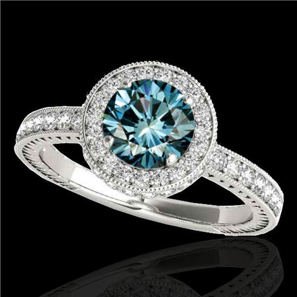 1.51 ctw SI Certified Fancy Blue Diamond Halo Ring 10k White Gold - REF-135R2K