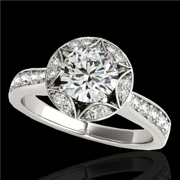 1.5 ctw Certified Diamond Solitaire Halo Ring 10k White Gold - REF-211K4Y