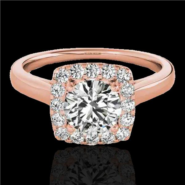1.37 ctw Certified Diamond Solitaire Halo Ring 10k Rose Gold - REF-197N8F