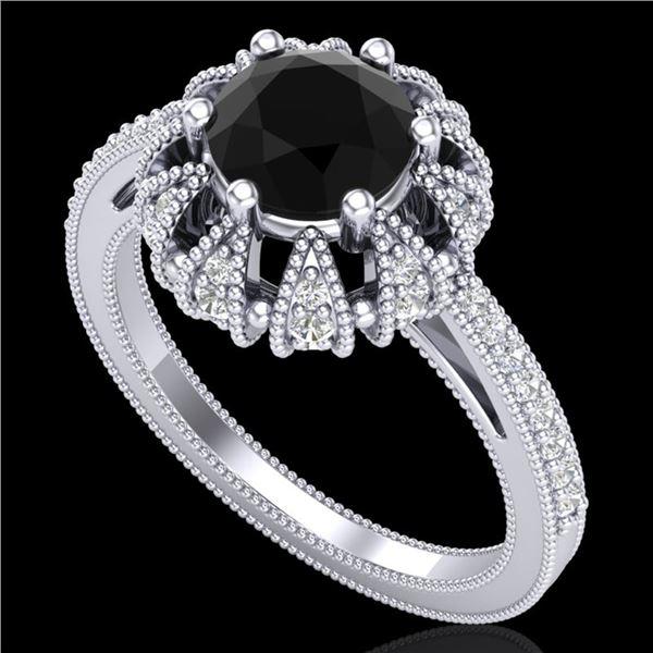 1.65 ctw Fancy Black Diamond Art Deco Micro Pave Ring 18k White Gold - REF-132M8G