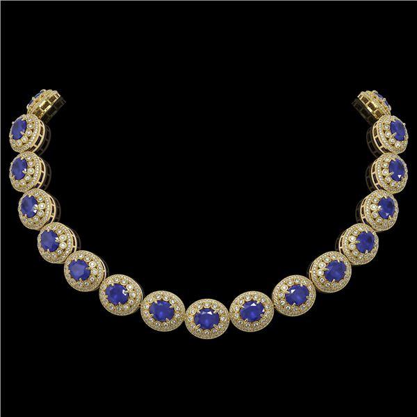 111.75 ctw Sapphire & Diamond Victorian Necklace 14K Yellow Gold - REF-2935M8G