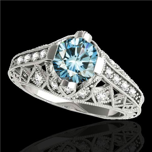 1.25 ctw SI Certified Blue Diamond Solitaire Antique Ring 10k White Gold - REF-125F5M