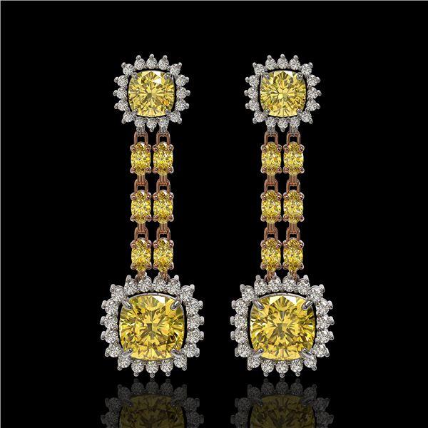 19.46 ctw Citrine & Diamond Earrings 14K Rose Gold - REF-235K3Y
