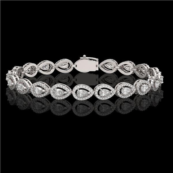 7.29 ctw Pear Cut Diamond Micro Pave Bracelet 18K White Gold - REF-633M8G