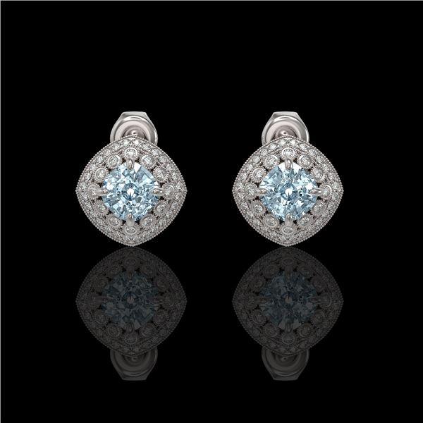 4.39 ctw Aquamarine & Diamond Victorian Earrings 14K White Gold - REF-131Y8X