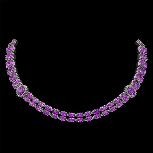 31.28 ctw Amethyst & Diamond Necklace 14K White Gold - REF-454N5F