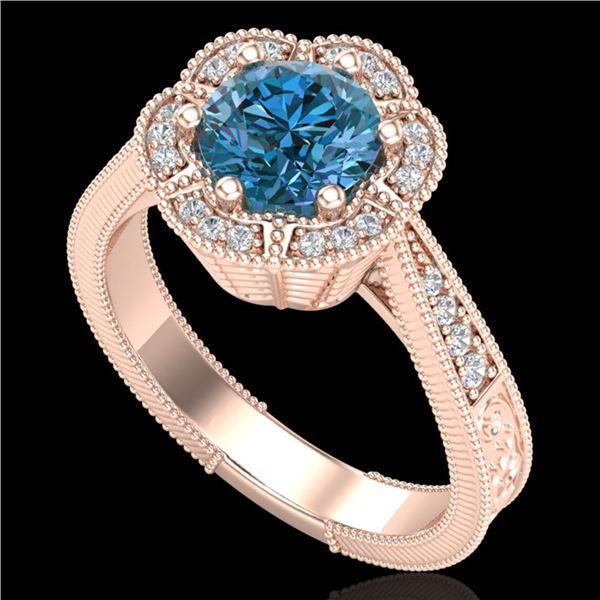 1.33 ctw Fancy Intense Blue Diamond Art Deco Ring 18k Rose Gold - REF-227R3K