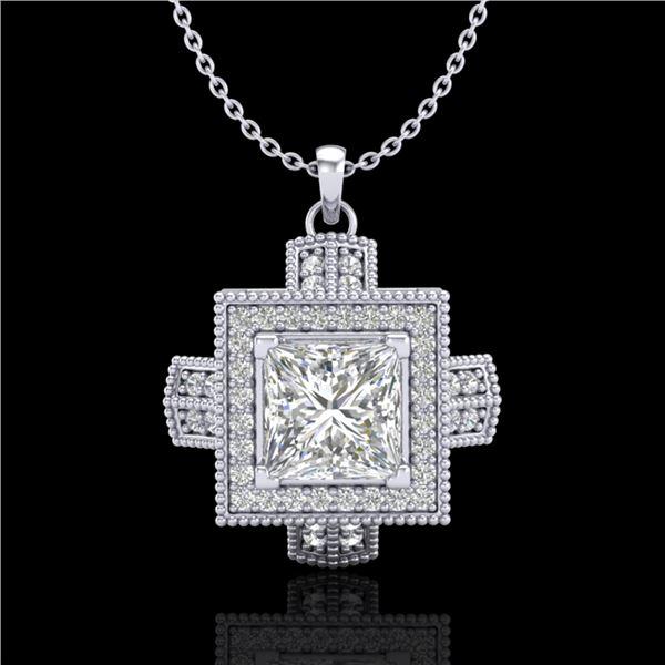 1.46 ctw Princess VS/SI Diamond Micro Pave Necklace 18k White Gold - REF-418X2A