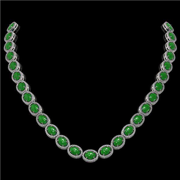 49.93 ctw Jade & Diamond Micro Pave Halo Necklace 10k White Gold - REF-563Y5X