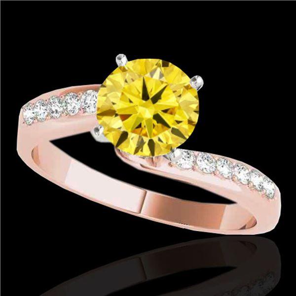 1.15 ctw Certified SI Intense Yellow Diamond Bypass Ring 10k Rose Gold - REF-184K3Y