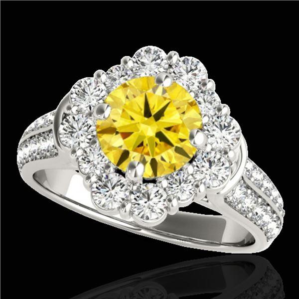 2.16 ctw Certified SI/I Fancy Intense Yellow Diamond Ring 10k White Gold - REF-190H9R