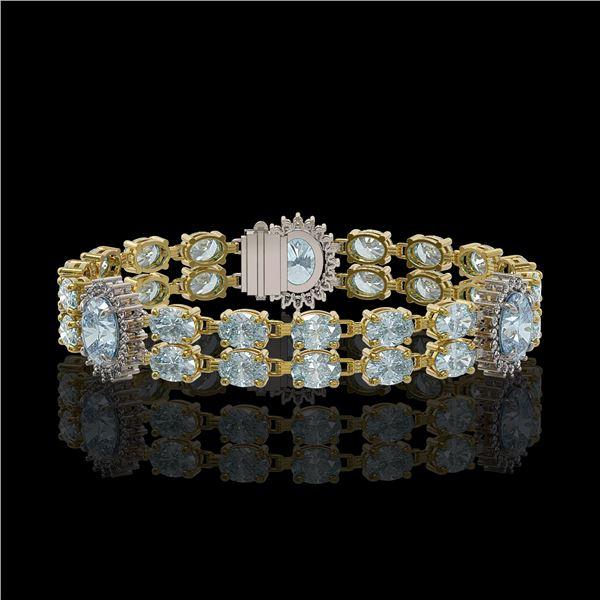 19.3 ctw Sky Topaz & Diamond Bracelet 14K Yellow Gold - REF-254N5F