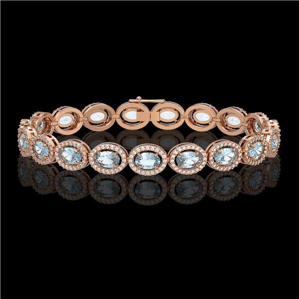 11.02 ctw Aquamarine & Diamond Micro Pave Halo Bracelet 10k Rose Gold - REF-309Y3X