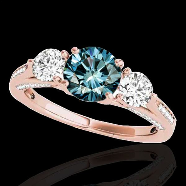 1.75 ctw SI Certified Fancy Blue Diamond 3 Stone Ring 10k Rose Gold - REF-156X8A
