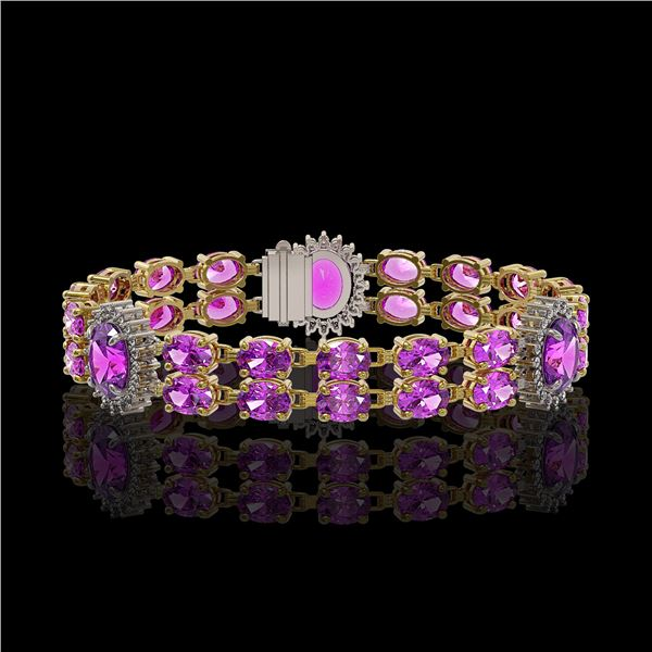 15.62 ctw Amethyst & Diamond Bracelet 14K Yellow Gold - REF-254H5R