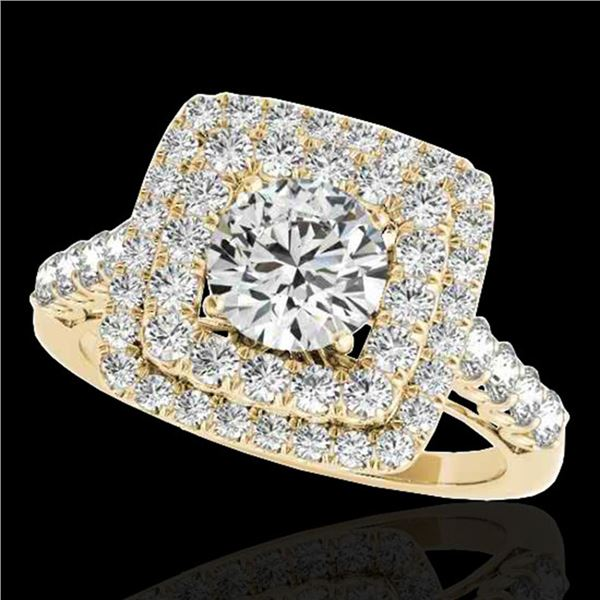 2.05 ctw Certified Diamond Solitaire Halo Ring 10k Yellow Gold - REF-204X5A