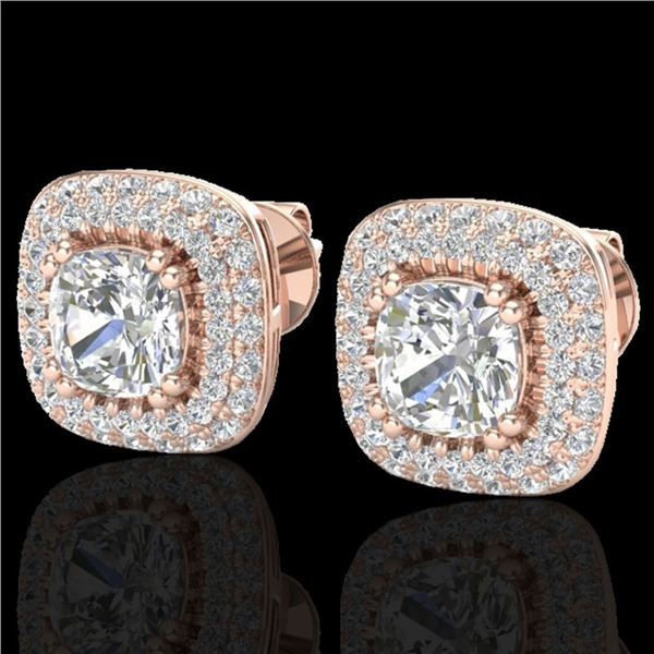 2.16 ctw Micro Pave VS/SI Diamond Earrings Halo 14k Rose Gold - REF-238X2A