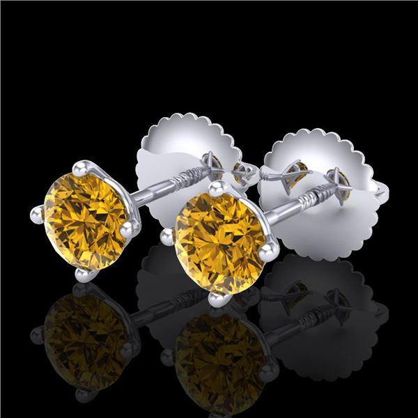 0.65 ctw Intense Fancy Yellow Diamond Art Deco Earrings 18k White Gold - REF-61N4F