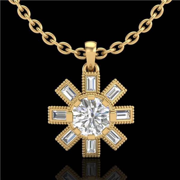 1.33 ctw VS/SI Diamond Solitaire Art Deco Necklace 18k Yellow Gold - REF-220F9M
