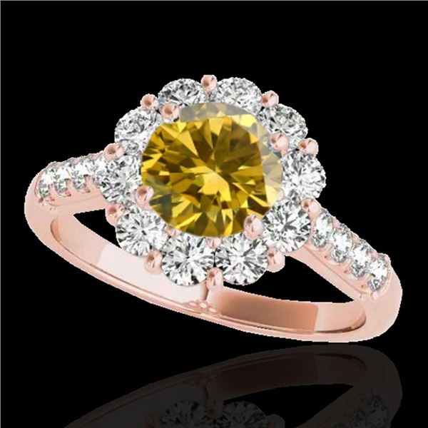 2 ctw Certified SI/I Fancy Intense Yellow Diamond Halo Ring 10k Rose Gold - REF-225X2A